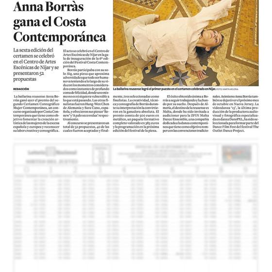 La bailarina Anna Borràs gana el Costa Contemporánea