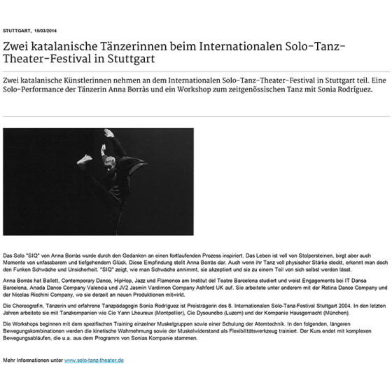 Zwei katalanische Tänzerinnen beim Internationalen Solo-Tanz-Theater-Festival in Stuttgart
