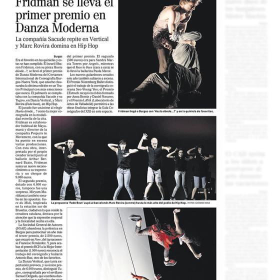 El israelí Sharon Fridman se lleva el primer premio en Danza Moderna
